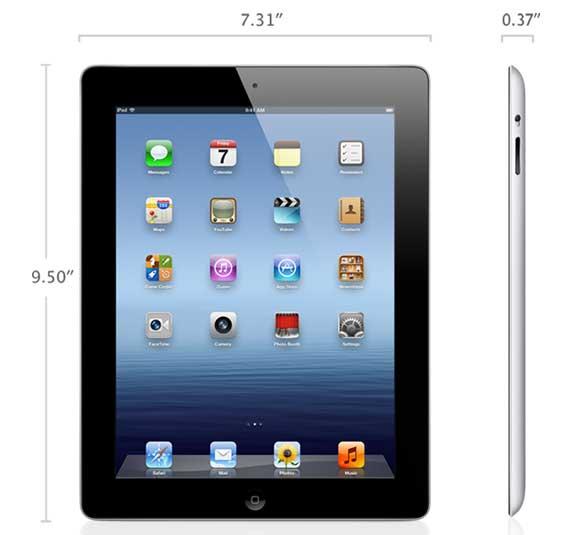iPad 2012 dimensions