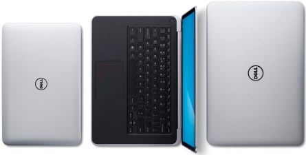 Dell XPS 13, XPS 14 and XPS 15 laptops, top down view