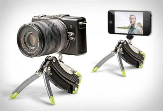 Gerber Steady Tool, its tripod attachment holding a camera and an iPhone