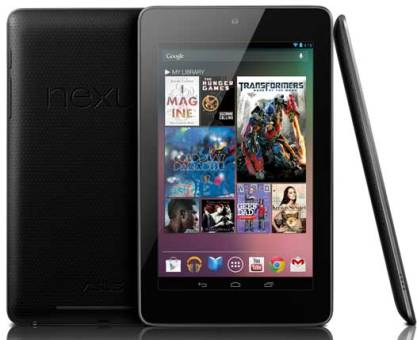Google Nexus 7 tablet, front, back and side views