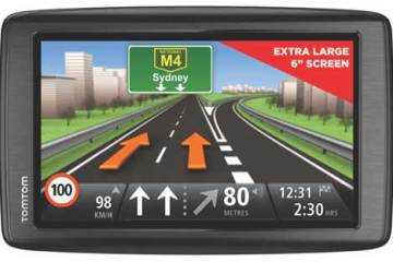 TomTom Via 620 GPS device, front view of the screen