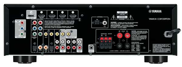 Yamaha RX-V373 AV-receiver, rear
