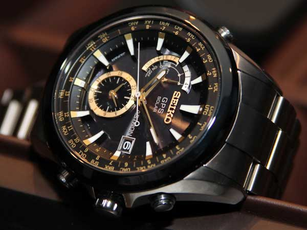 Seiko Astron GPS watch, gold face