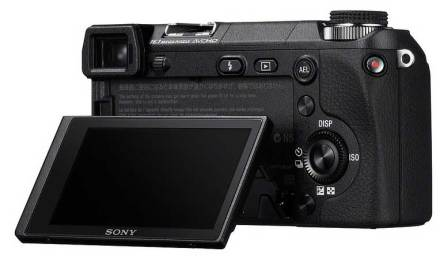 Sony Alpha NEX-6 compact system camera, with LCD screen tilted