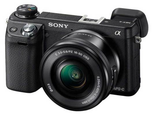 Sony Alpha NEX-6 compact system camera, front angle view