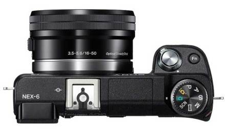 Sony Alpha NEX-6 compact system camera, top view