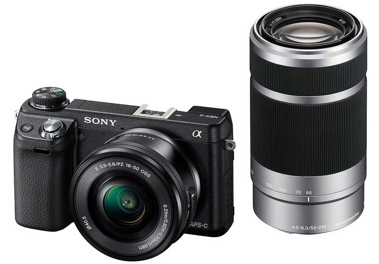 Sony Alpha NEX6 compact system camera with lens, front angle view