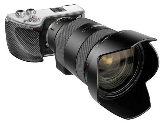 Hasselblad Lunar mirrorless camera, with an A-mount lens