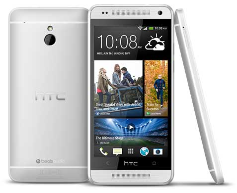 HTC One Mini, silver colour, front, back and side views