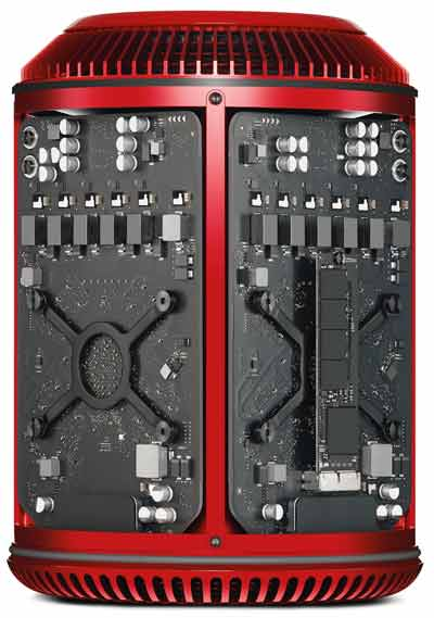 Apple Mac Pro 2013 Product Red cutaway view