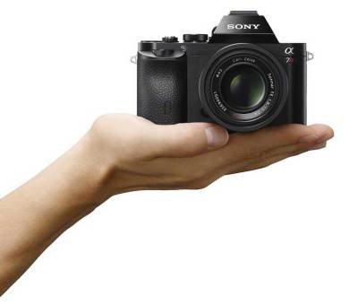 Sony Alpha 7 camera, in-hand