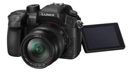 Panasonic Lumix GH4 camera, front angle view, screen out