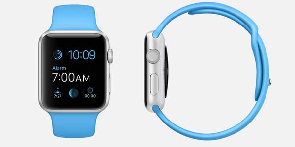 Apple Watch Sport, blue, front and side views