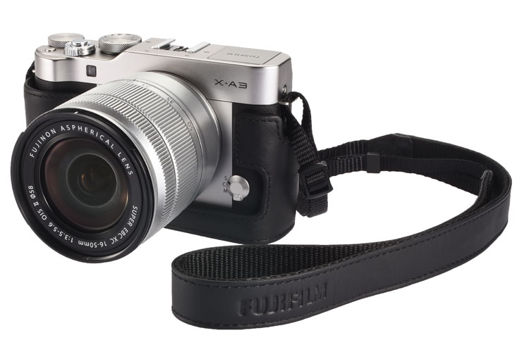 Fujifilm X-A3 front angle view with strap