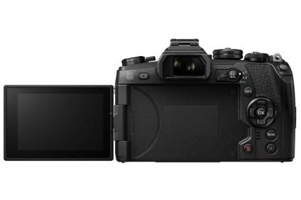 Olympus OM-D E-M1 Mark II rear view, LCD screen open
