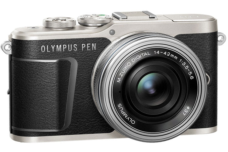 Olympus PEN E-PL9 black front angle view