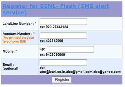 bsnl flash registration screen mobile email