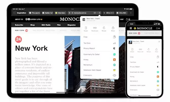 Apple fetches Safari web extensions to the iPad and iPhone