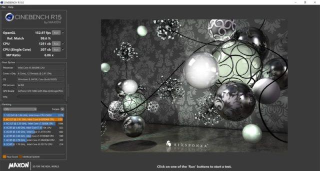 Intel i9-8950HK Cinebench Alienware 15