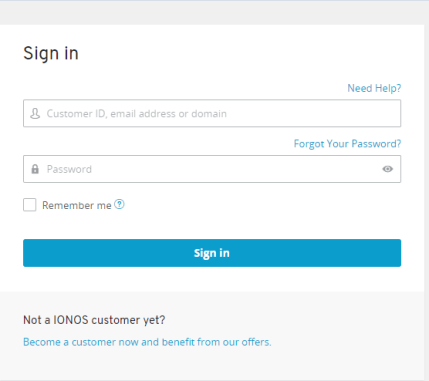 sign in form 1and1 Webmail