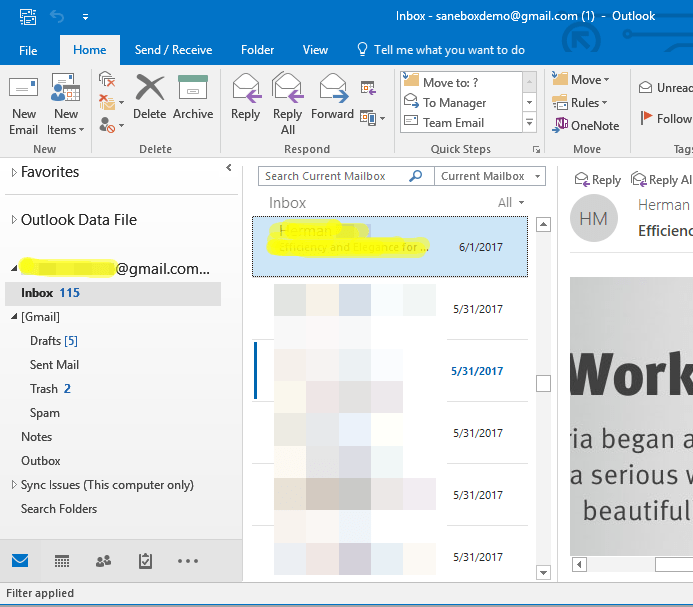 Outlook 2016 Gmail Inbox view