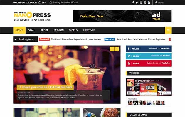 Nanopress Responsive SEO friendly premium blogger template free 2020