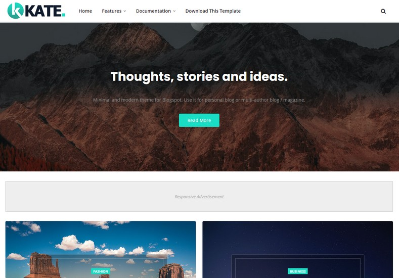 Kate Blogger Template Free Download