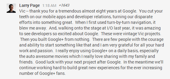 Larry Page Replied To Vic's Post