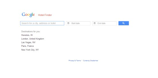 Google Hotel Finder Interface