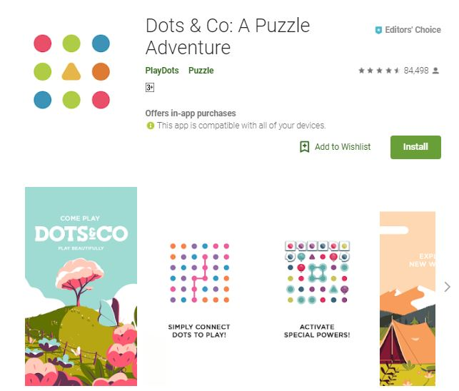 A screenshot image of the game Dots & Co: Puzzle Adventure, colorful landscapes and shapes, one of the editors choice games