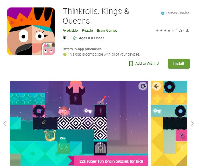 A screenshot image of the game Thinkrolls: Kings & Queens, colorful image of a 2-dimensional visual, one of the editors choice games