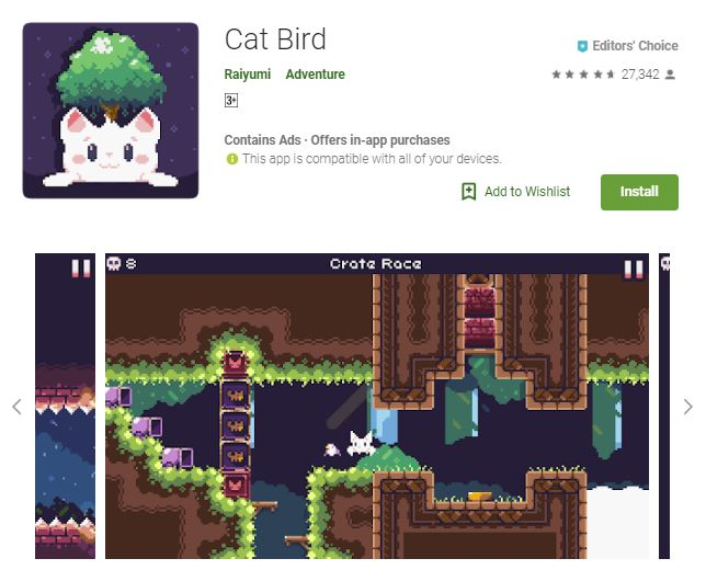 A screenshot image of the game Cat Bird, a pixelated image of a white cat that has a full-grown tree on the top of its head, one of the editors choice games