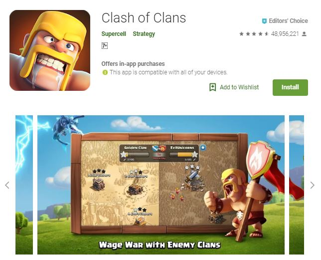 An image of a screenshot from the game Clash of Clans, an image of a barbarian and a map of clan wars, one of the editors choice game