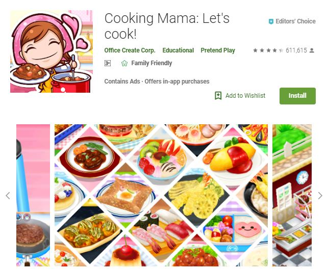 A screenshot image from the game Cooking Mama: Let's cook!, photo of different kinds of dishes, one of the editors choice games