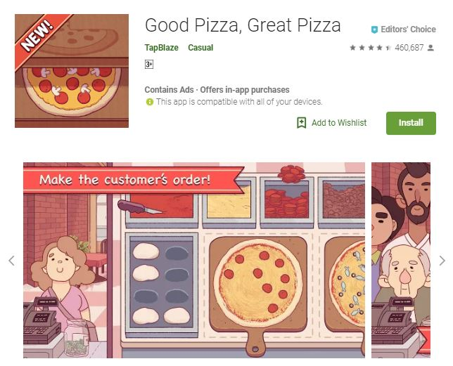 A screenshot image of the game Good Pizza, Great Pizza, a 2-dimensional image of people waiting for the pizza they ordered, one of the editors choice games