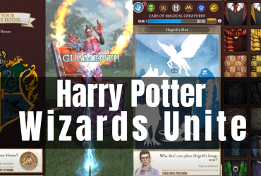 Collage screenshots from the game Harry Potter Wizards Unite and the title of the game itself