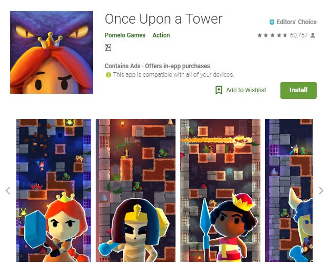 An image of a screenshot from the game Once Upon a Tower, image of 3-dimensional characters such a princess, a mummy, a queen, and a warrior, one of the editors choice games