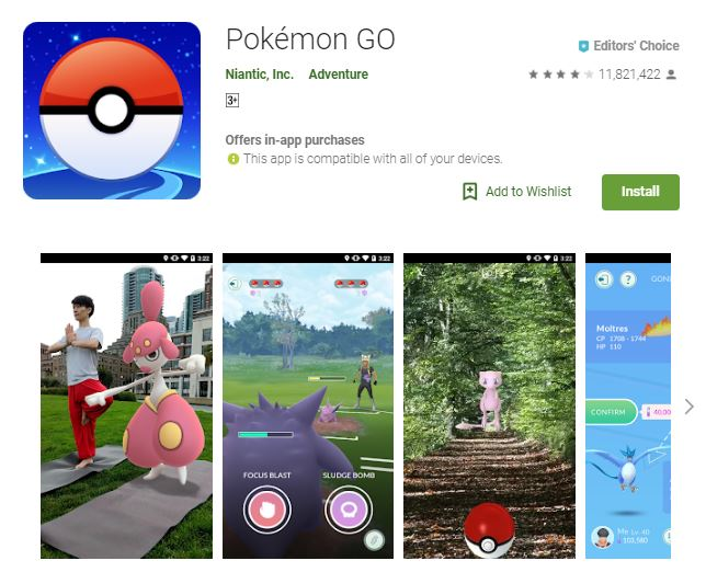 An image of a screenshot from the game Pokemon GO, photo of a pokemon meditating with a human in the real world, one of the editors choice games