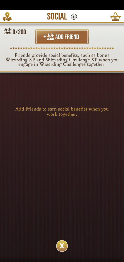 A screenshot image of the game Harry Potter Wizards Unite, an image of the social portion of the game