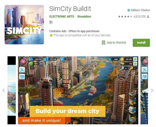 A screenshot image of the game SimCity BuildIt, an image of buildings and skyscrapers, one of the editors choice games
