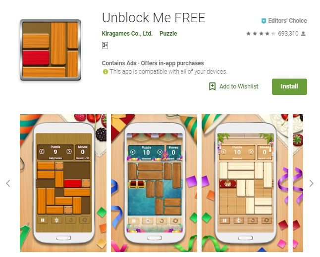 An image of a screenshot from the game Unblock Me FREE, image of phones with the different 2-dimensional game modes, one of the editors choice games