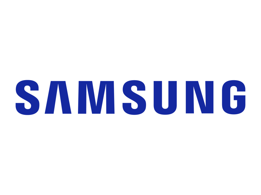 SAMSUNG logo, all the text in the photo are in the shade of blue