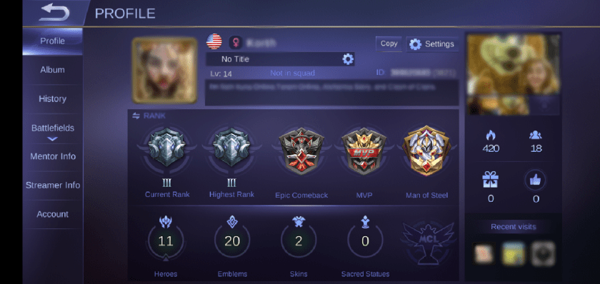 Screenshot of a Mobile Legends profile