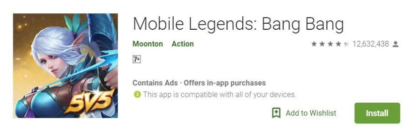 A screenshot of the game Mobile Legends from Google Play Store, the game's icon, tittle and description