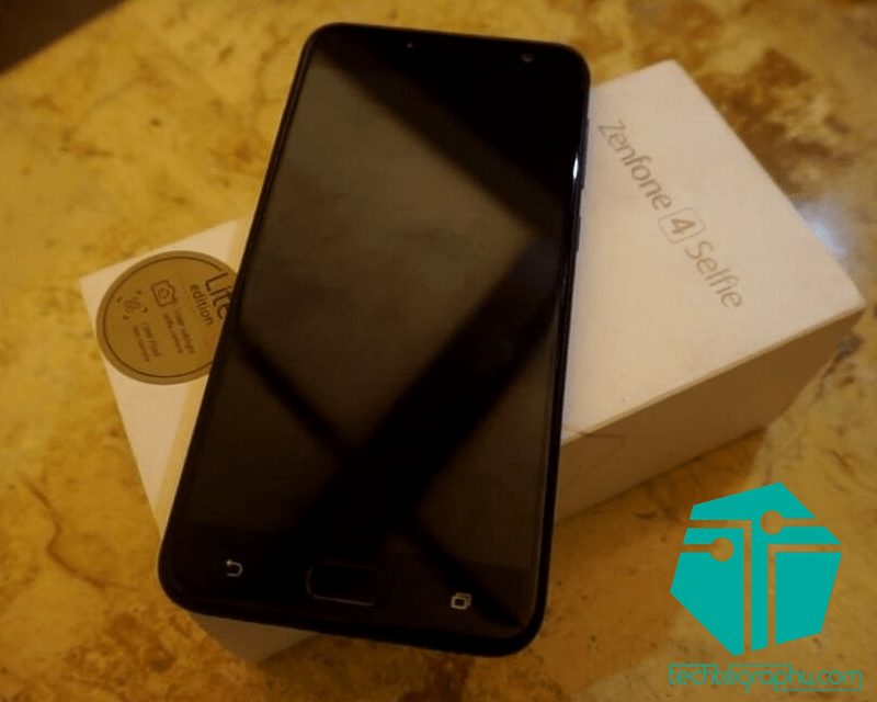 An image of the ZenFone 4 Selfie Lite and its box.