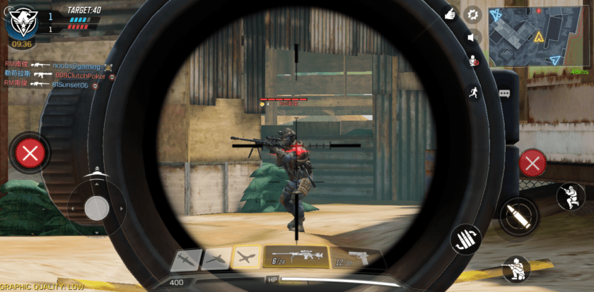 Playing Call of Duty Mobile, aiming at an opponent from the opposing squad.