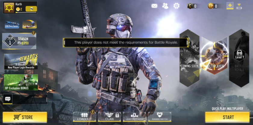 Screenshot from the Call of Duty Mobile, Battle Royale game mode.