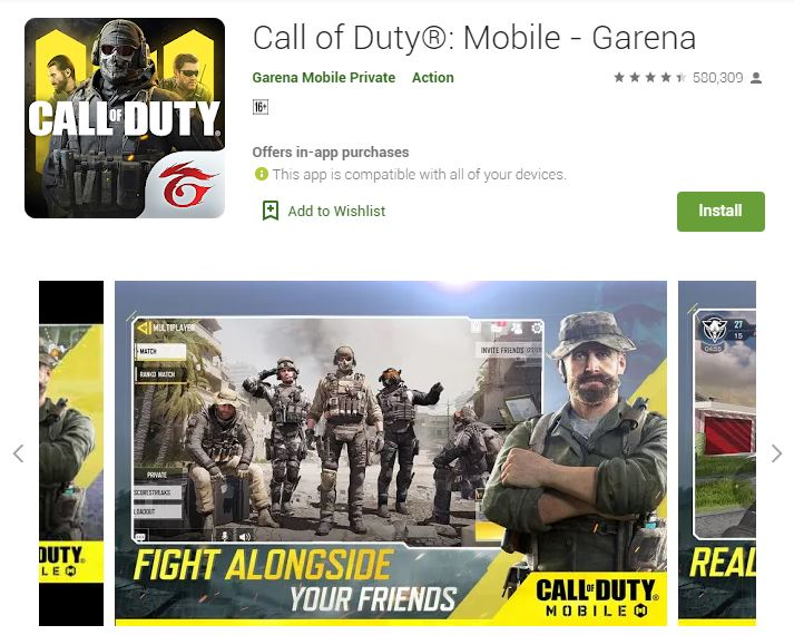A photo of the Call of Duty Mobile on Google Play Store. The logo of the game itself is on the upper left side of the photo.