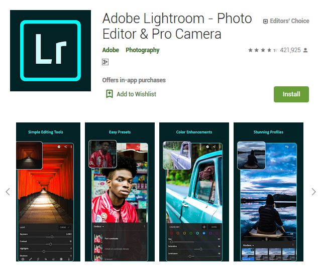 A screenshot photo of the mobile app Adobe Lightroom, one of the 50 Top Free Apps In Google Play