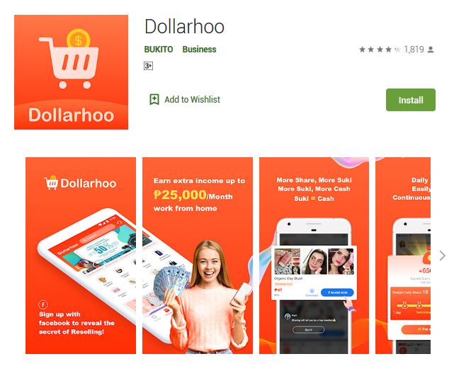 A screenshot photo of the mobile app Dollarhoo